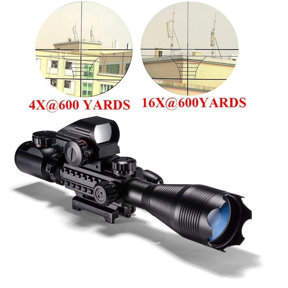 Aipa Tactical Combo Rifle Scope 4-12x50EG Dual Illuminated Optics Sight & Red Laser and 4 R&G Holographic Dot Sight(12 Month Warranty)