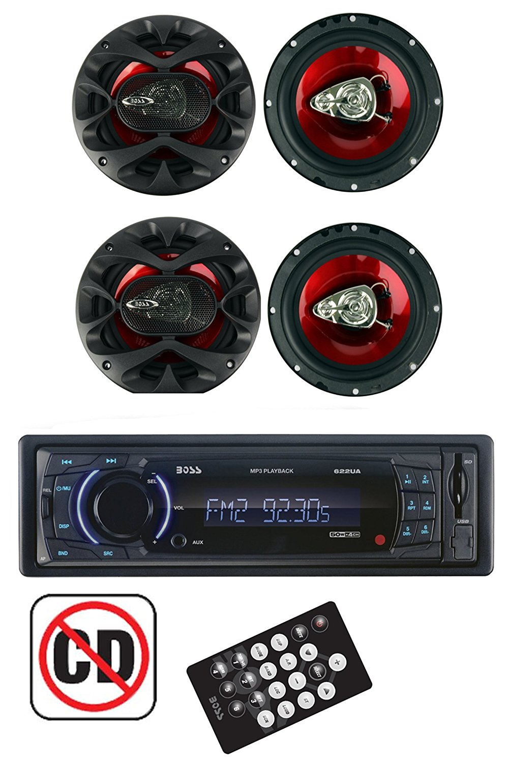 BOSS 622UA Radio Dash Digital Car Stereo Receiver + 4) CH6530 6.5 Inch Speakers