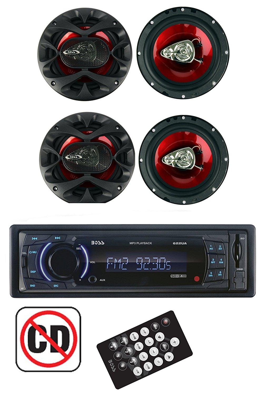 BOSS 622UA Radio Dash Digital Car Stereo Receiver + 4) CH6530 6.5 Inch Speakers