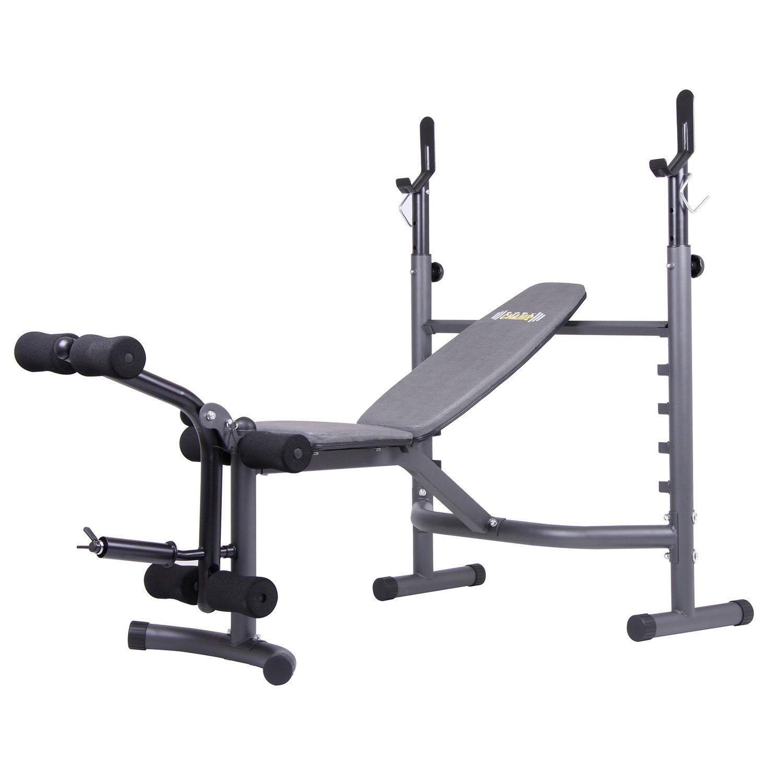 Body Champ Olympic Weight Bench with Leg Developer, Dark Gray/Black