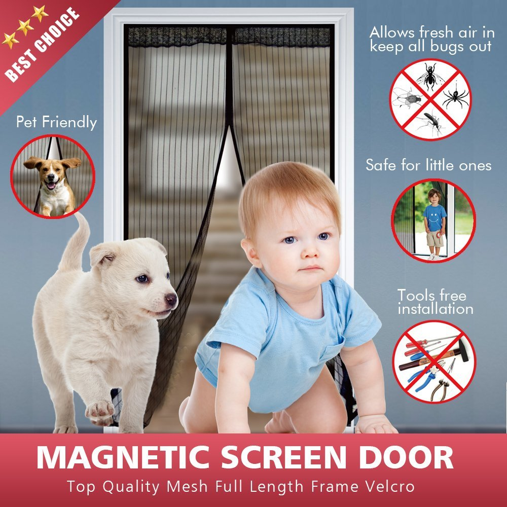 Bodyguard Magnetic Screen Door - Full Frame Velcro, Fits Door Size up to 34 x 82-Inch, 28 Sewn-in Magnets, Heavy Duty Mesh Curtain, Easy Installation, No Gap, No Falling
