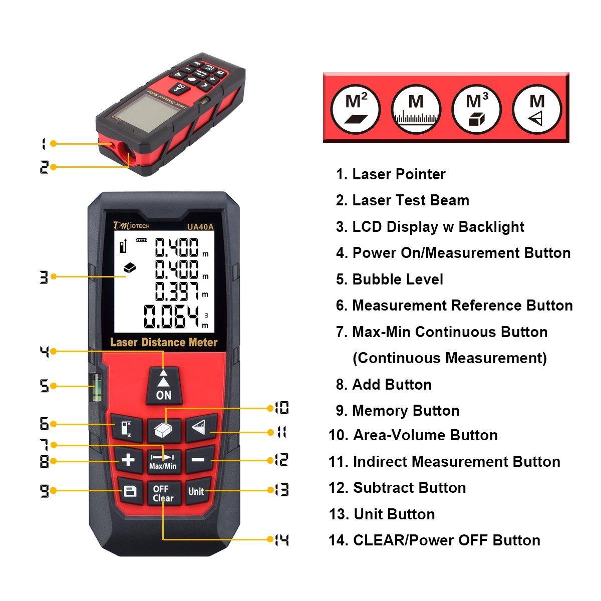 DMiotech Laser Distance Measure 131ft 40m Mini Handheld Digital Laser Distance Meter Rangefinder Measurer Tape Diastimeter with LCD Backlight Red
