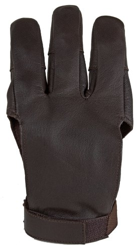 Damascus DWC Archery Shooting Glove, Three Finger Design Fits Either Hand, Velcro Strap, Large
