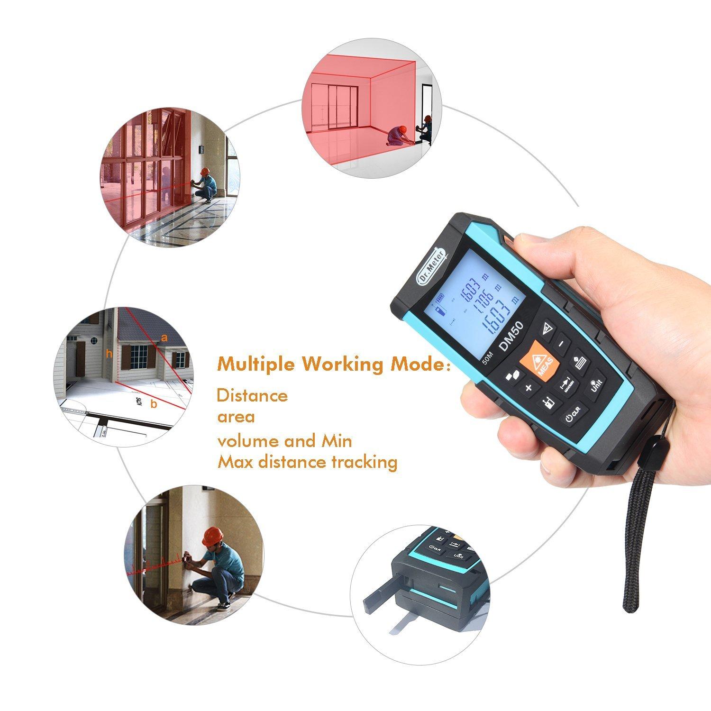 Dr.meter DM50 Handy Laser Distance Measure 50m/164ft Measuring Range with Large Backlit Display Area Volume Tester FDA Approve