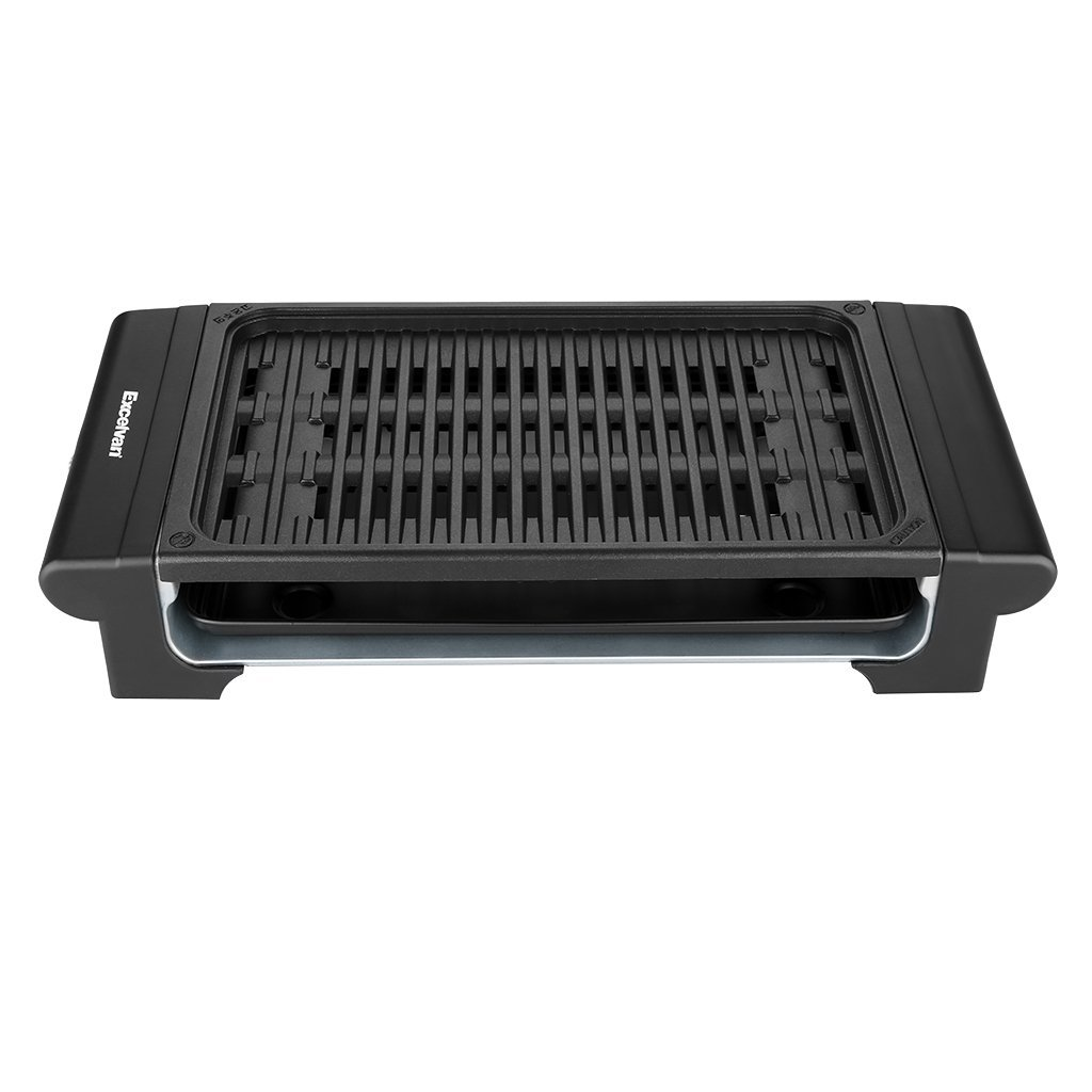 Excelvan Indoor Electric Barbecue Grill Adjustable Temperature Control Easy Clean, 1120W, Black, 20 X 9 X 4 Inch