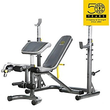 Gold's Gym XRS 20 Olympic Workout Bench / Independent Utility Bench can be used separately or moved out of the way allowing you to perform squats and other exercises without obstruction