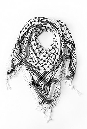 """Hirbawi Premium Arabic Scarf 100% Cotton Shemagh Keffiyeh 47""""x47"""" Arab Scarf"""