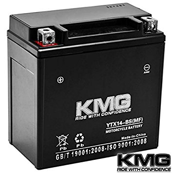 KMG Honda 350 TRX350 Rancher 2000-2006 YTX14-BS Sealed Maintenace Free Battery High Performance 12V SMF OEM Replacement Maintenance Free Powersport Motorcycle ATV Scooter Snowmobile KMG
