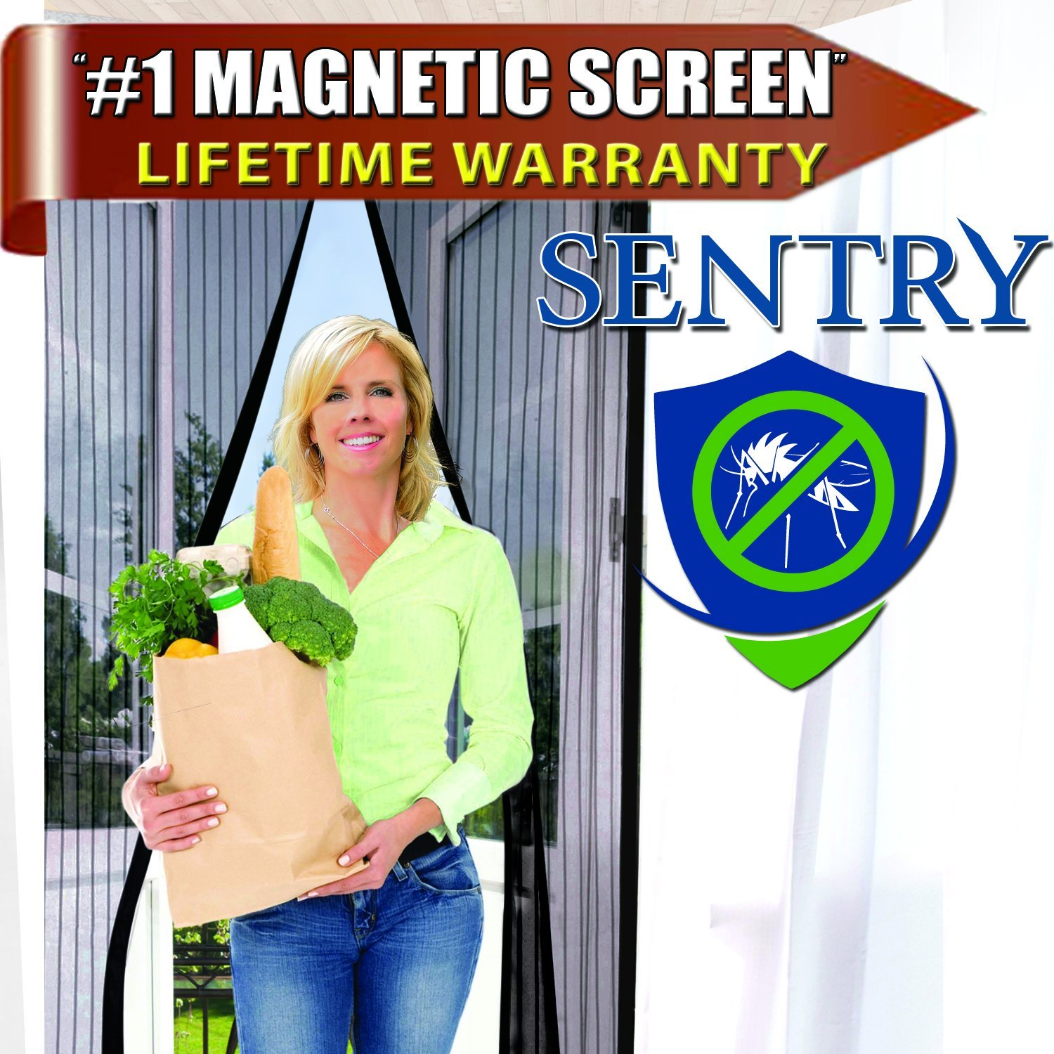 Magnetic Screen Door - 5 Colors & 11 Sizes to Fit Your Door Exactly - US Military Approved - Reinforced With Full Frame Velcro to Ensure All Bugs Are Kept Out