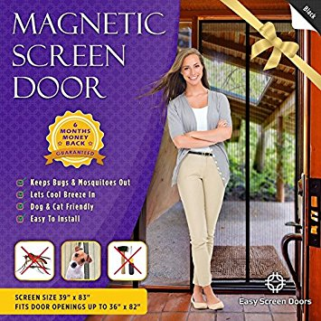 Magnetic Screen Door, Mesh Curtain - Keeps Bugs & Mosquitoes Out, Lets Cool Breeze In - Premium Quality - Toddler And Pet Friendly - Fits Doors Up To 36-Inch-by-82-Inch MAX