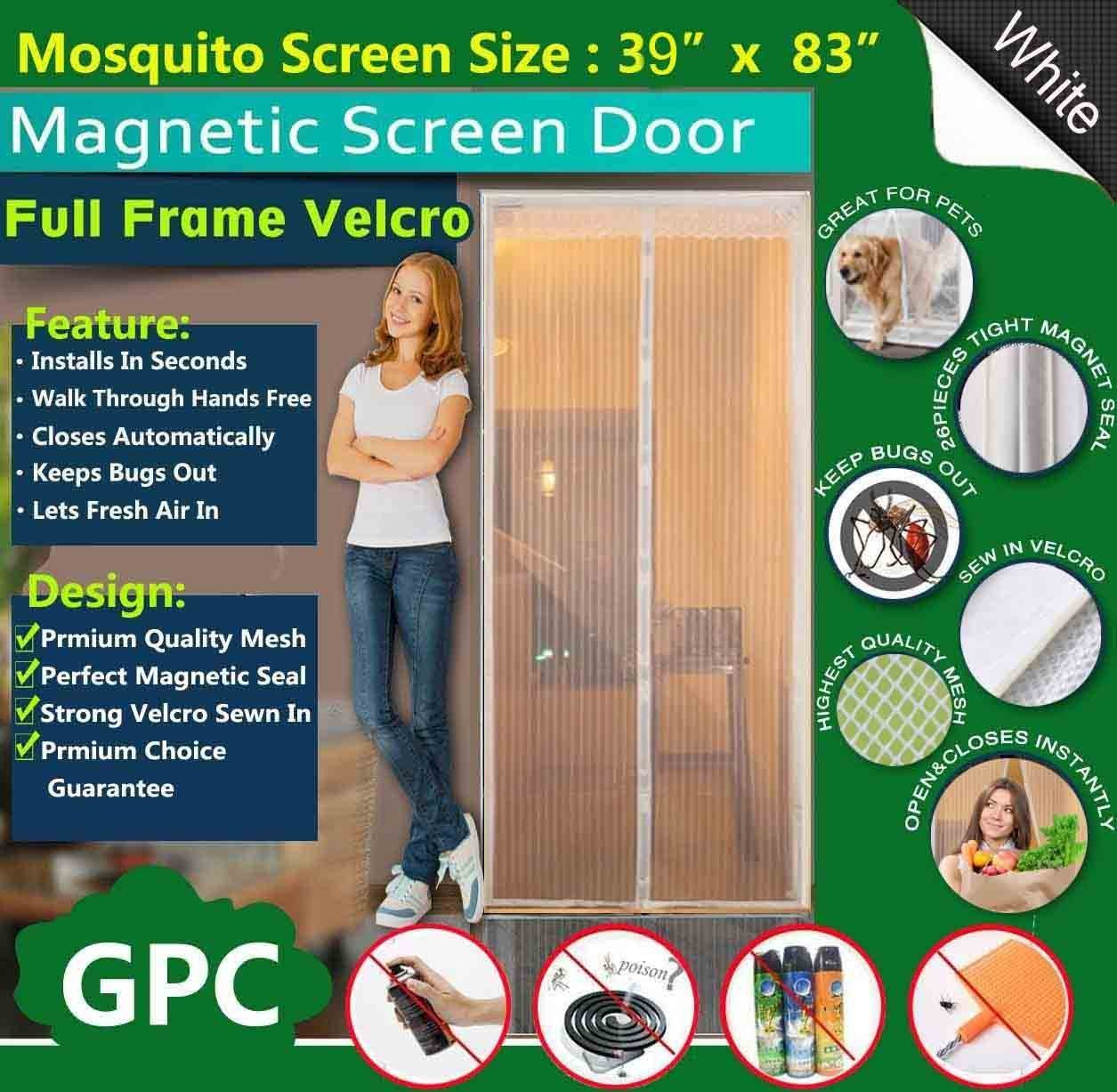 """Meiz Magnetic Screen Door,Mesh Curtain With Full Frame Velcro,Keeps Bugs Out,Lets Fresh Air In,Toddler And Pet Friendly,Fits Door Up To 36"""" x 82"""" (White)"""