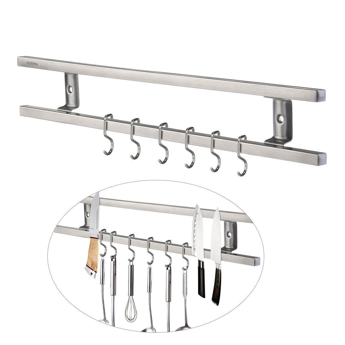 OUNONA Strips Stainless Steel with 6 Removable Hooks