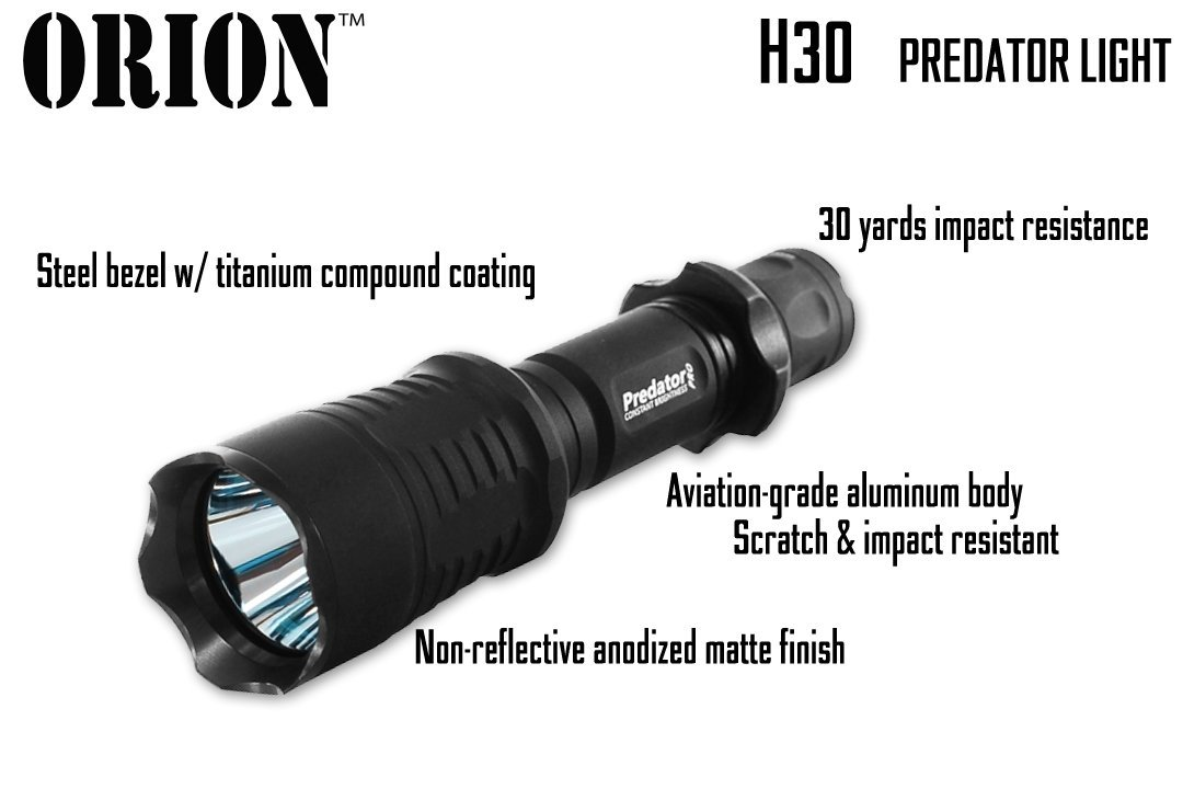 Orion Predator H30 Red or Green 273 yards Long Range Rechargeable Hog Coyote Fox Varmint Night Hunting Light Flashlight with Scope mount, Rail Mount, Barrel Mount, Remote Pressure Switch & Charger Kit