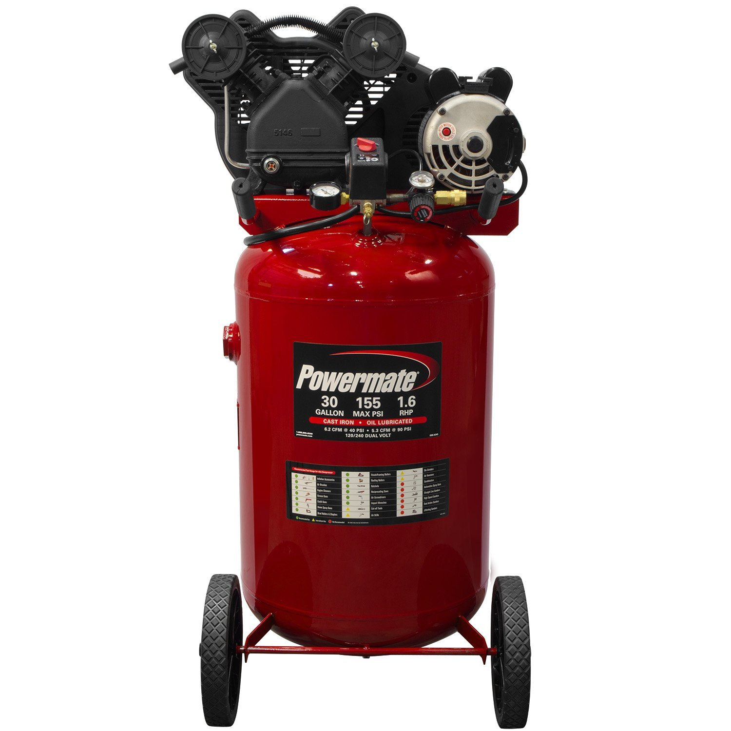 Powermate Vx PLA1683066 30-Gallon Portable Twin Cylinder Cast Iron Air Compressor