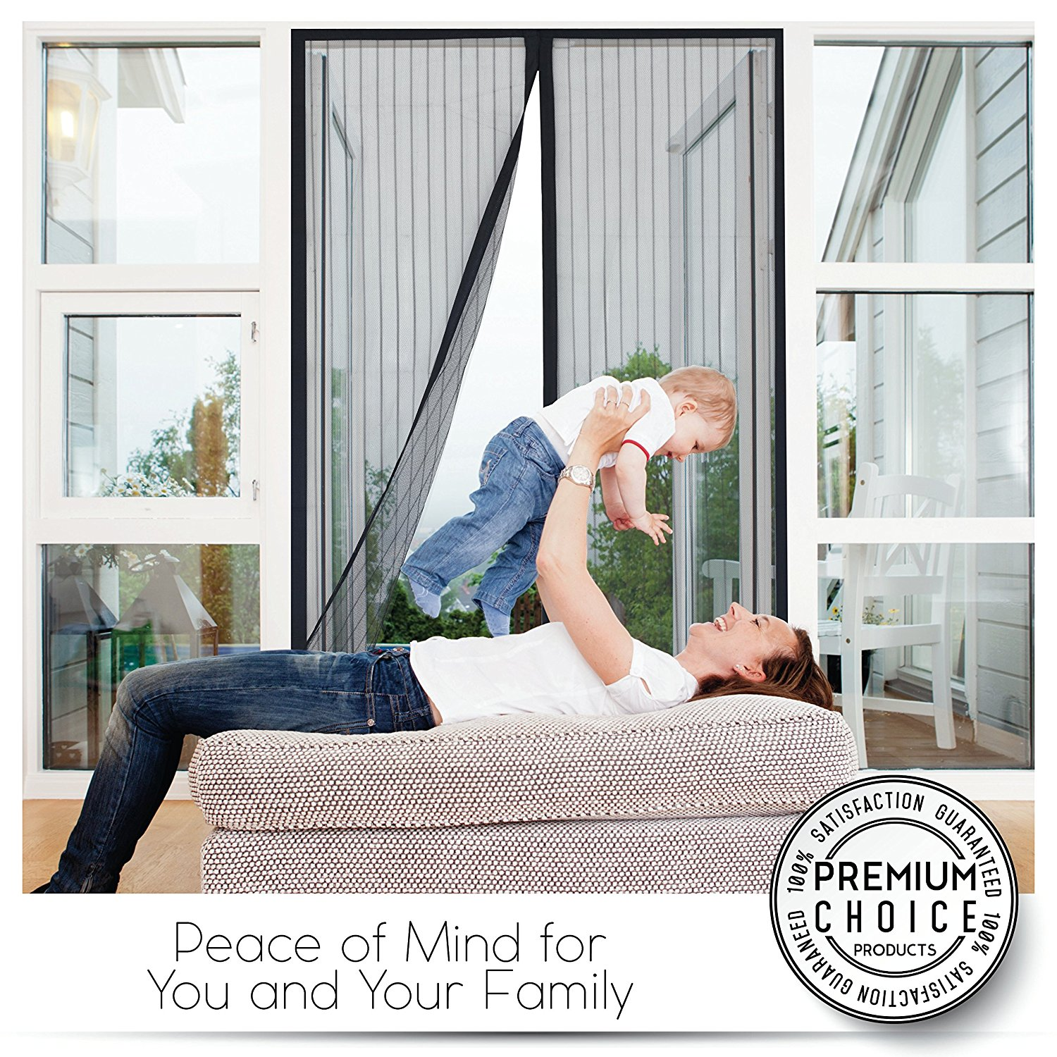"""Premium Magnetic Screen Door - KEEP BUGS OUT, Let Fresh Air In. Instant Mosquito, Insect and Fly Screen with Magic Magnetic Closure. Retractable Mesh Door Screen. (Fits Doors UP TO 34"""" x 82"""")"""