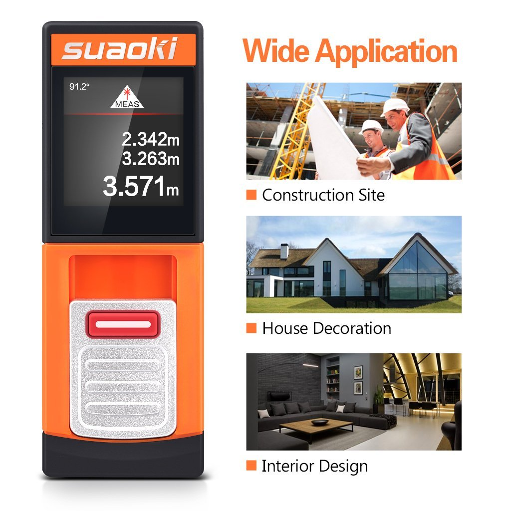 Suaoki D5T BLUETOOTH Enabled Laser Distance Measurer 131.24FT/ 40M, Laser Measure with TOUCHSCREEN Backlit LCD , Continuous Measurement/Pythagorean/Area/Auto Level/Auto Height Measurement Modes