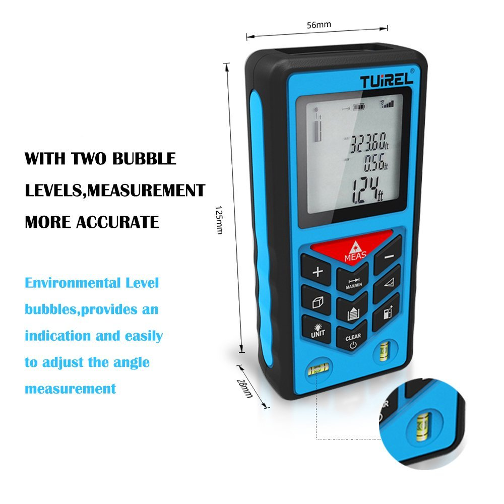 Tuirel T100 Handheld 100m/328ft Laser Distance Meter Range Finder Measure Instrument Diastimete