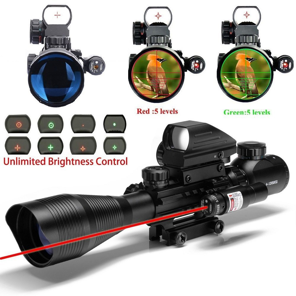 UUQ C4-12X50 AR15 Rifle Scope Dual Illuminated Reticle W/ Red Laser and Holographic Dot Sight (12 Month Warranty)