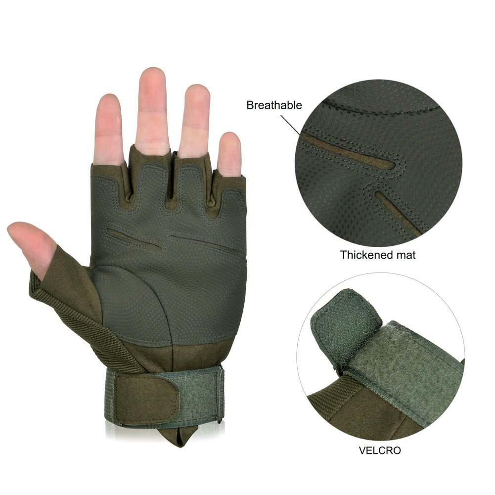 Vbiger Military Tactical Gloves Half Finger Fingerless Gloves Airsoft Cycling Motorcycle Gloves