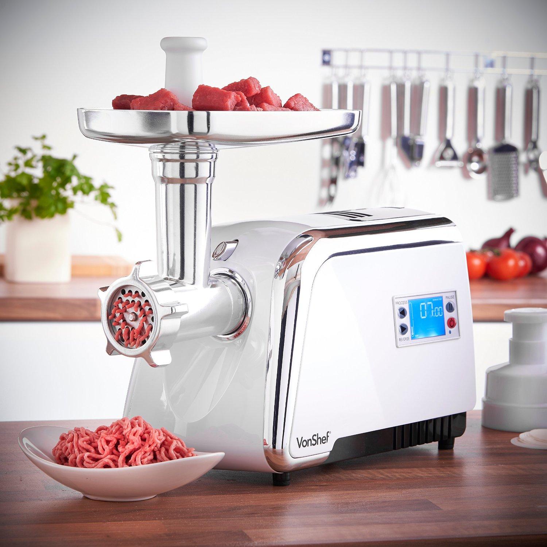 VonShef Digital Electric Stainless Steel Meat Grinder Mincer Sausage Maker