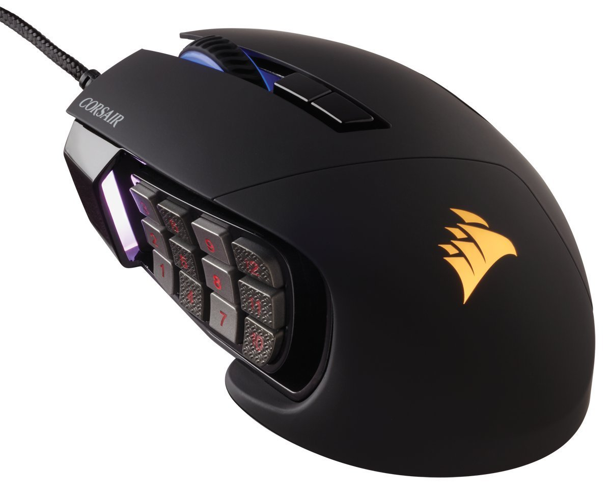 Corsair Gaming SCIMITAR RGB MOBA/MMO Gaming Mouse, Key Slider Mechanical Buttons, 12000 DPI, Black