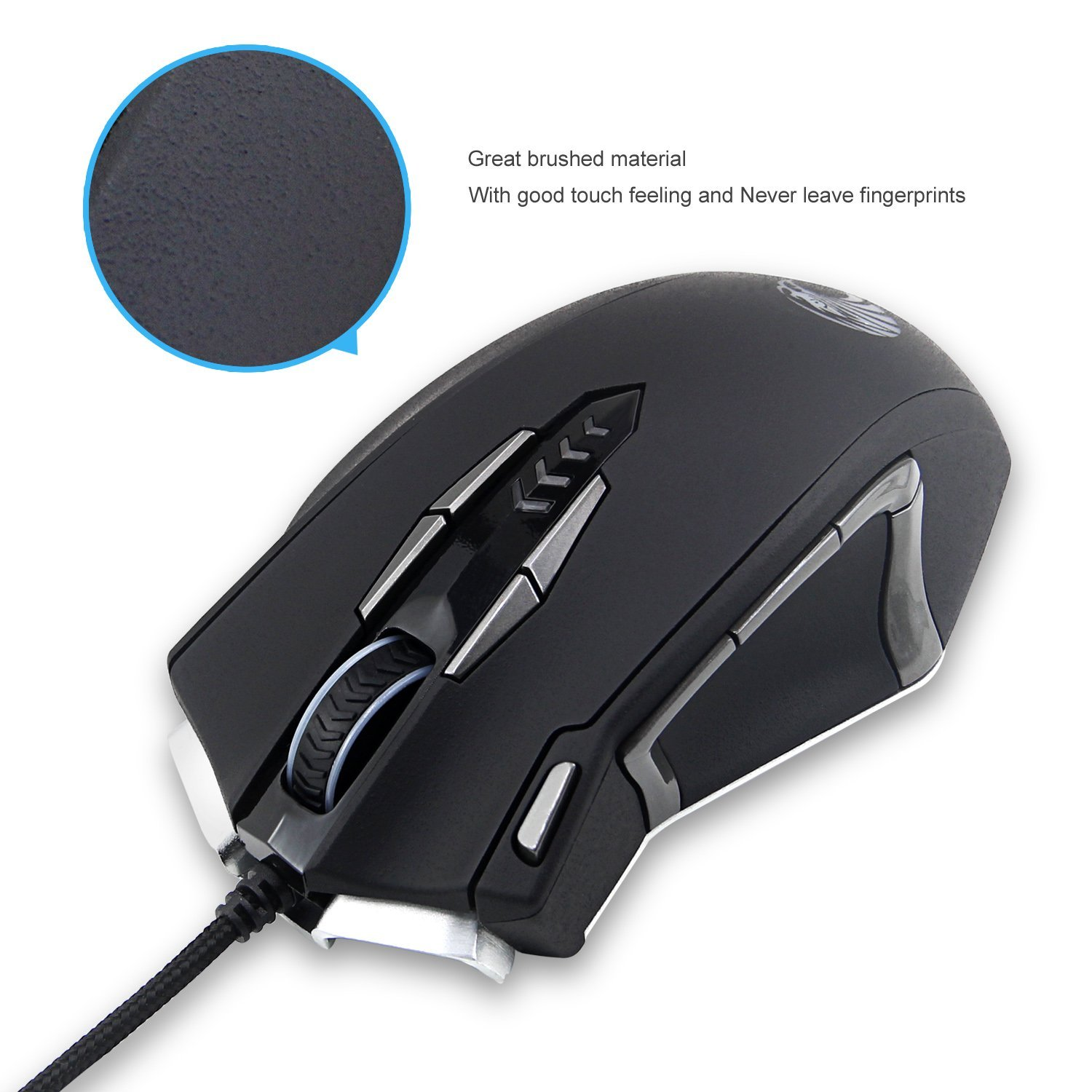 EUASOO Mouse Mice Z-7900 4000 DPI Metal Base MMO/FPS High Precision Optical Gaming Mouse
