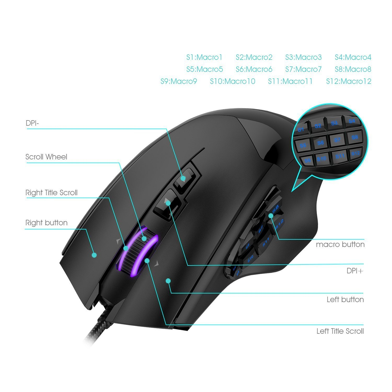 HAVIT 12000 DPI 19 Programmable Buttons Optical Sensor Pixart PMW 3360 Optical MMO Gaming Mouse - Black (HV-MS735)