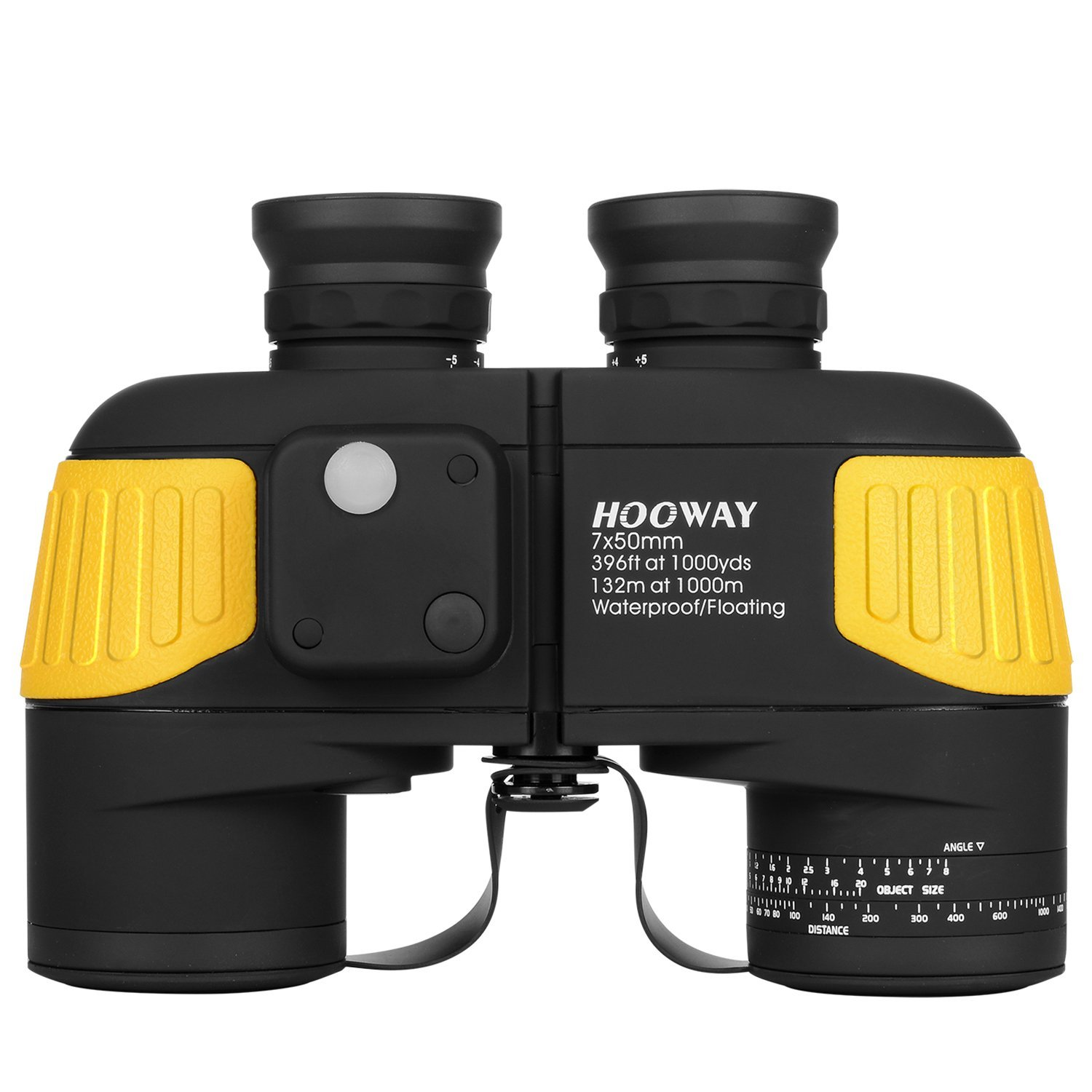 Hooway 7x50 Waterproof Fogproof Military Marine Binoculars w/ Internal Rangefinder & Compass for Navigation,Boating,Fishing,Water Sports,Hunting and More