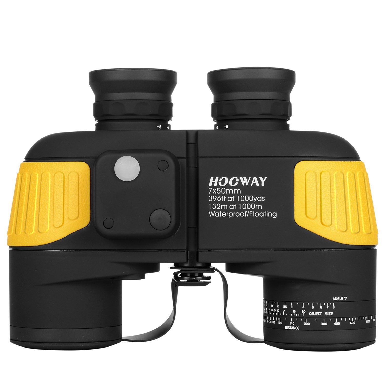 Hooway 7x50 Waterproof Fogproof Military Marine Binoculars w/ Internal Rangefinder & Compass for Navigation,Boating,Fishing,Water Sports,Hunting and More