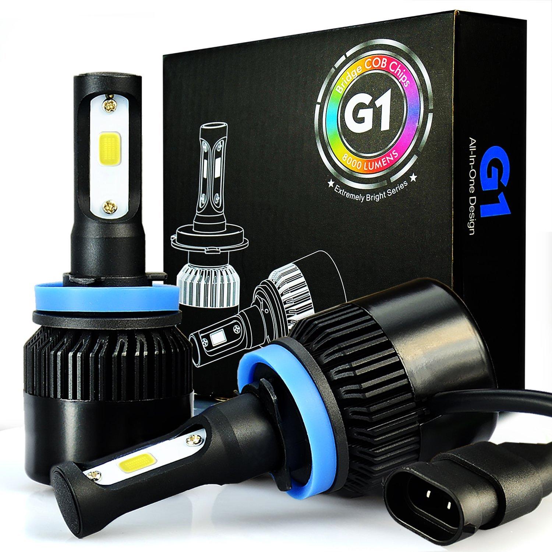 JDM ASTAR G1 8000 Lumens Extremely Bright H11 H8 COB LED Headlights, Xenon White