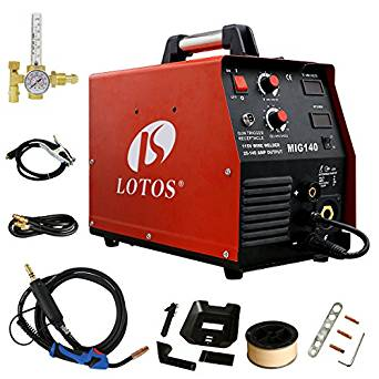 Lotos MIG140 140 Amp MIG Wire Welder Flux Core Welder and Aluminum Gas Shielded Welding with 2T/4T Switch, 110V, Red
