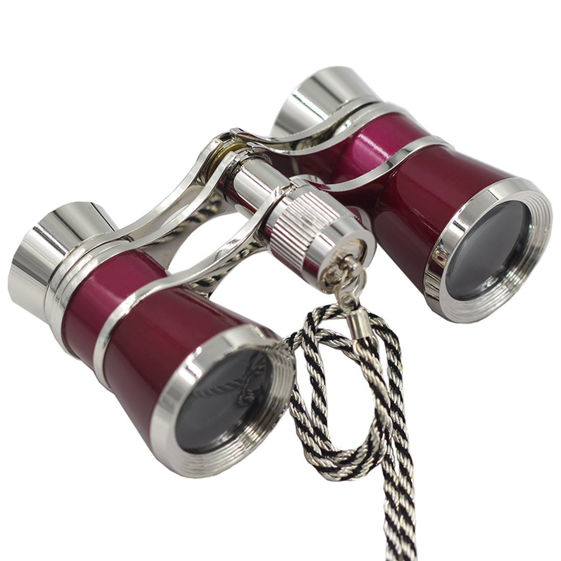 OPO Opera Theater Horse Racing Glasses Binocular Telescope Chain Necklace (Red with Silver Trim) 3X25