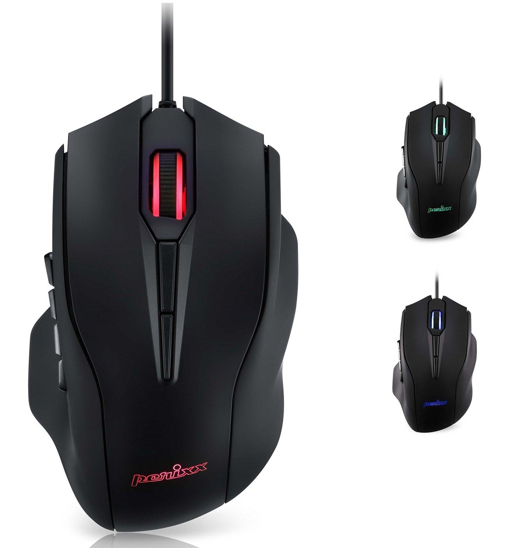 Perixx MX-3100 MMO Gaming Mouse - 12000 DPI - PMW 3360 - 12 Thumb Buttons - RGB Lightning - Programmable Tilt Wheel