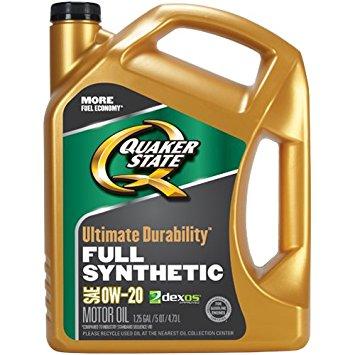 Quaker State 550038081 Ultimate Durability 0W-20 Motor Oil Lubricant, 5 quart