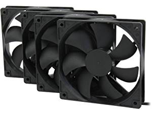 Rosewill 120mm Long Life Sleeve Case Black Case Fan For Computer Cases, 4-Pack Cooling ROCF-13001