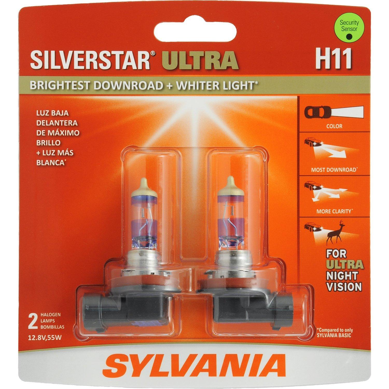 SYLVANIA H11 SilverStar Ultra High Performance Halogen Headlight Bulb, (Contains 2 Bulbs)