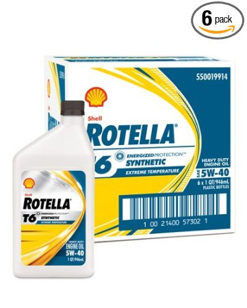 Shell Rotella 550019914-6PK T6 Full Synthetic 5W-40 Motor Oil - 1 Quart (Pack of 6)