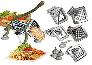 "TigerChef commercial french fry cutter Heavy Duty Grade French Fry Cutter with Suction Feet Complete Set, Includes 1/4"", 3/8"", 1/2"", 6"", 8"" Wedge Blade/Pusher Blocks with Cleaning Brush (Pack of 14)"