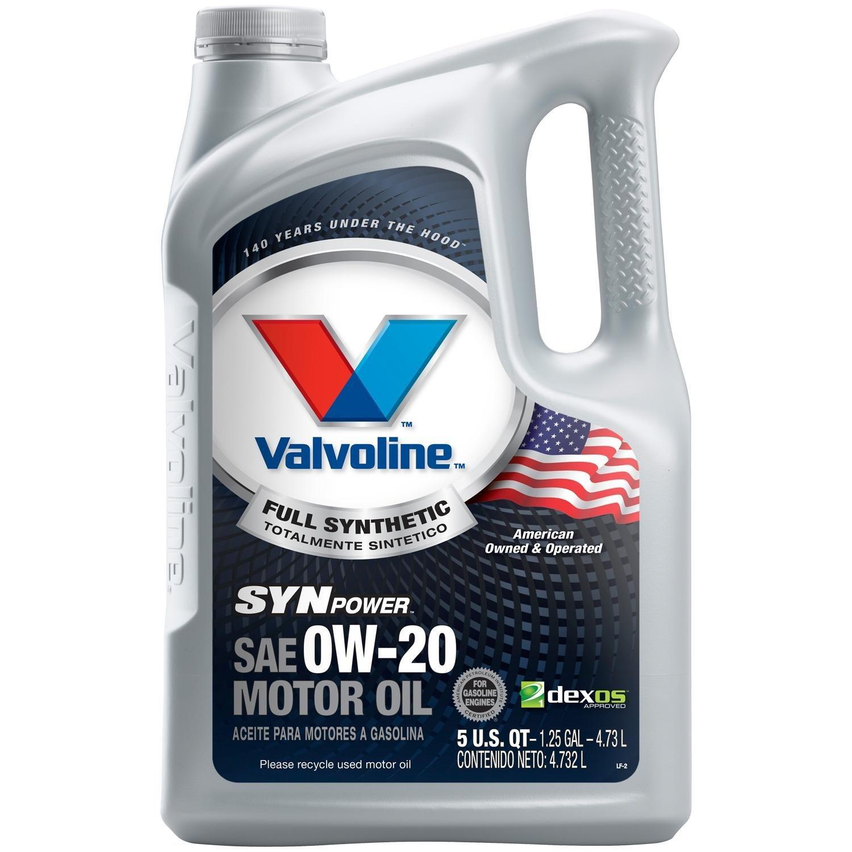 Valvoline SynPower Full Synthetic Motor Oil, SAE 0W-20 - 5qt (813460)