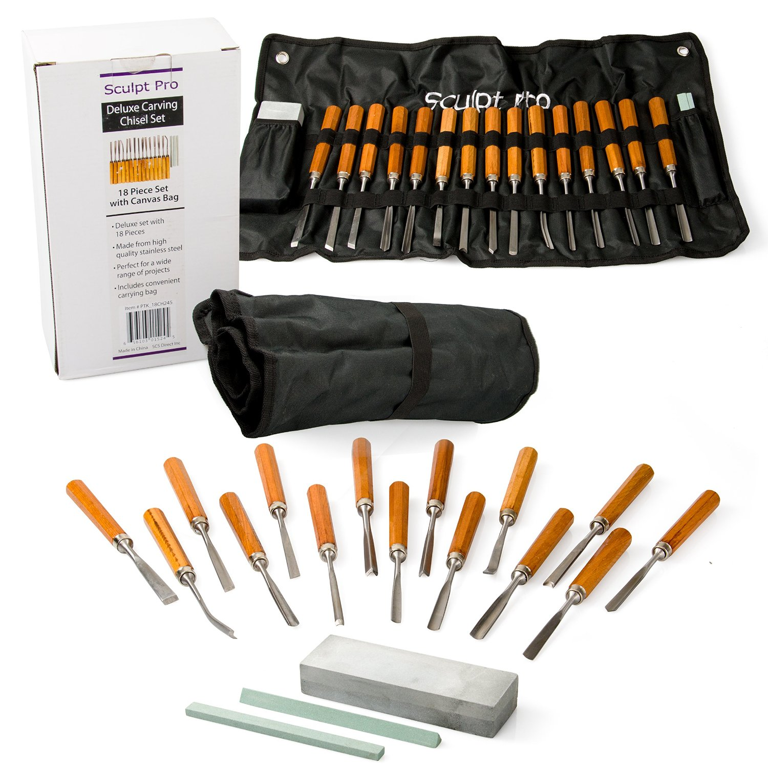 Wood Carving Chisel Set- Professional Wood Carving Tools, Deluxe 18 pieces with Carrying Case