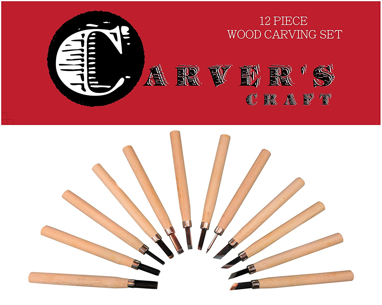 Wood Carving Tools Knife Kit - Kids & Beginners - 12 Set w BONUS Stencils Guide