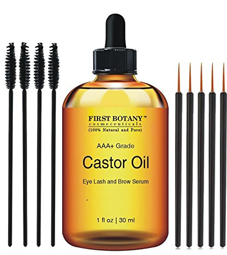 100% Pure Organic Castor Oil Hexane free - Great for Eyelashes, Hair, Eyebrows, Face and Skin , Hair Growth & Best Moisturizer for Skin & Hair with Treatment Applicator Kit, 1oz (30ml)