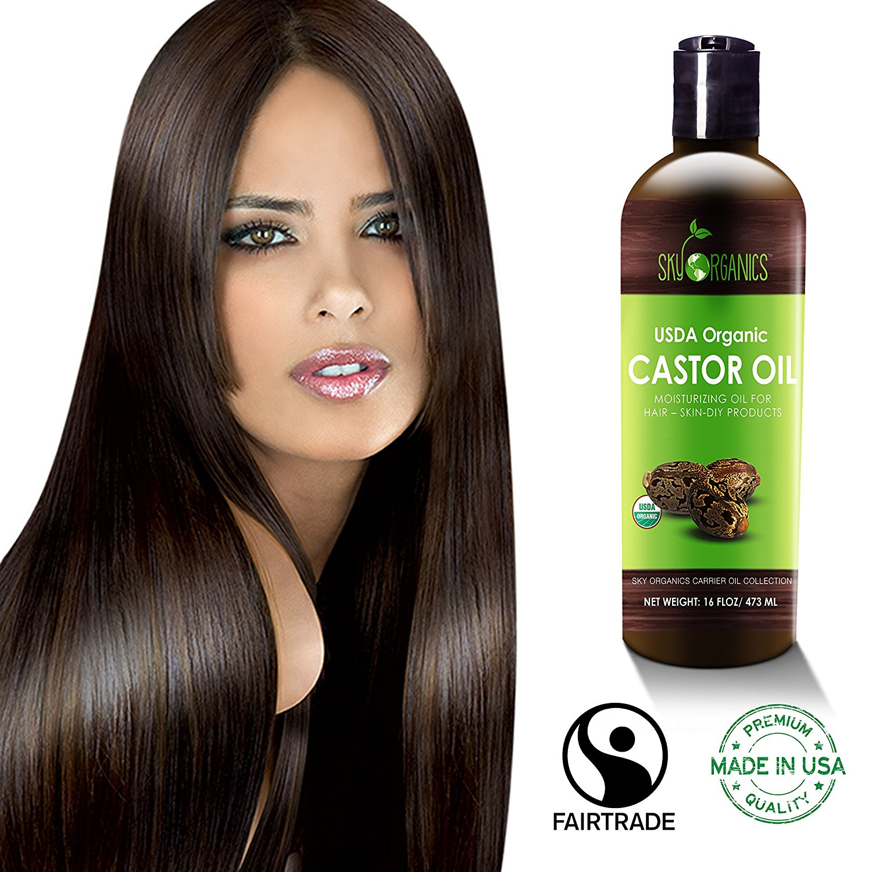 Castor Oil (16oz) USDA Organic Cold-Pressed, 100% Pure, Hexane-Free Castor Oil - Moisturizing & Healing, For Dry Skin, Hair Growth - For Skin, Hair Care, Eyelashes - Caster Oil By Sky Organics