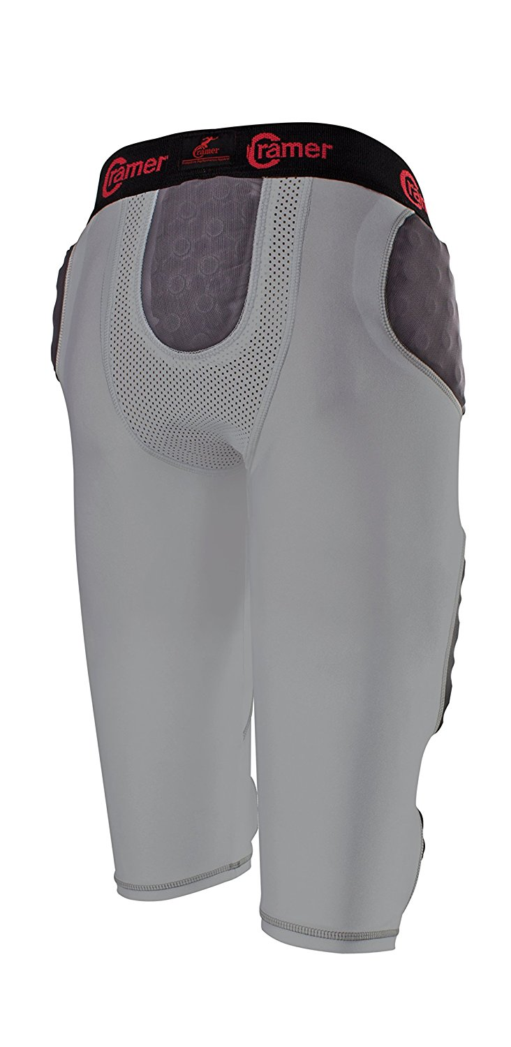 Cramer Skill 7 Pad Football Girdle With Integrated Hip, Thigh and Tailbone Pads, Lightweight Collegiate Football Girdle Designed for Speed, Moisture-Wicking and Anti-Bacterial Fabric, Gray, Small