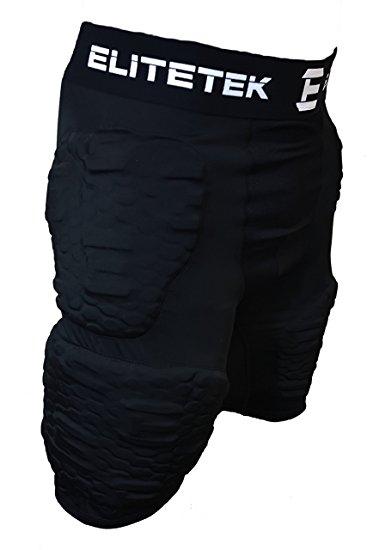 EliteTek Padded Compression Shorts - PS16 - Youth & Adult Sizes (Adult XL, Black)