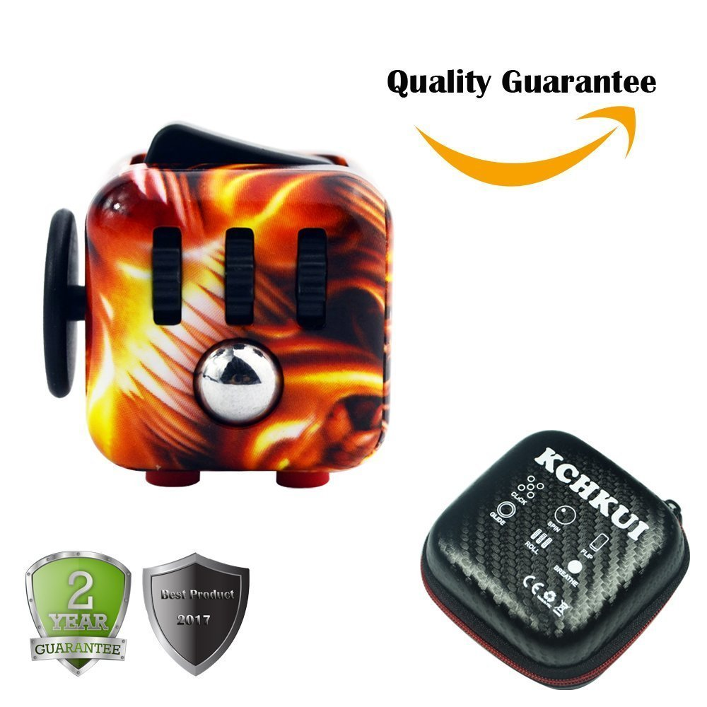 Fidget Cube by KCHKUI Fidget Toy Relieves Stress and Anxiety Attention Desk Toy for Children Adults Kids (flame grain)
