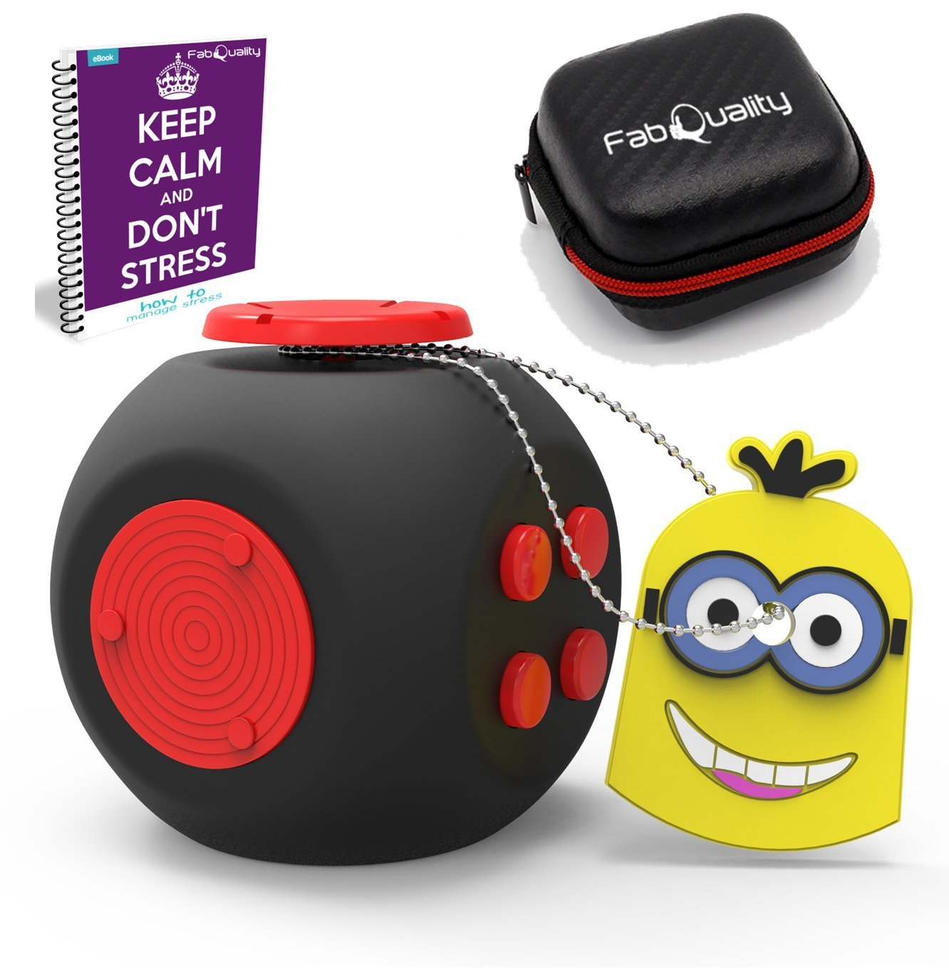 SPECIAL OFFER FIDGET CUBE New BIG Improved Cube Quality Anxiety Attention Toy With BONUS eBook inc + Minion Key Chain - Relieves Stress And Anxiety And Relax for Children + Adults BONUS EBOOK