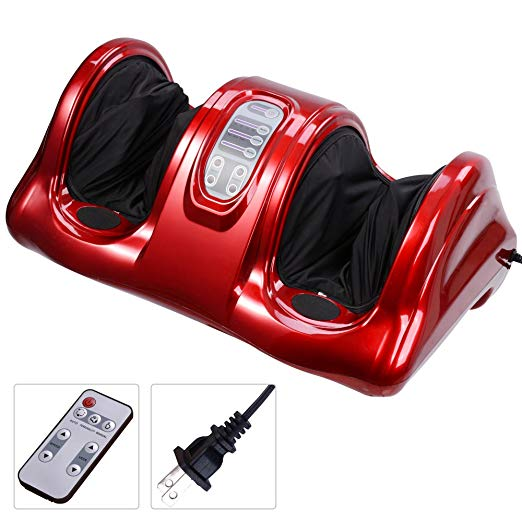 AW Shiatsu Foot Massager Kneading and Rolling Leg Calf Ankle with Remote Control Personal Home Health Care Red