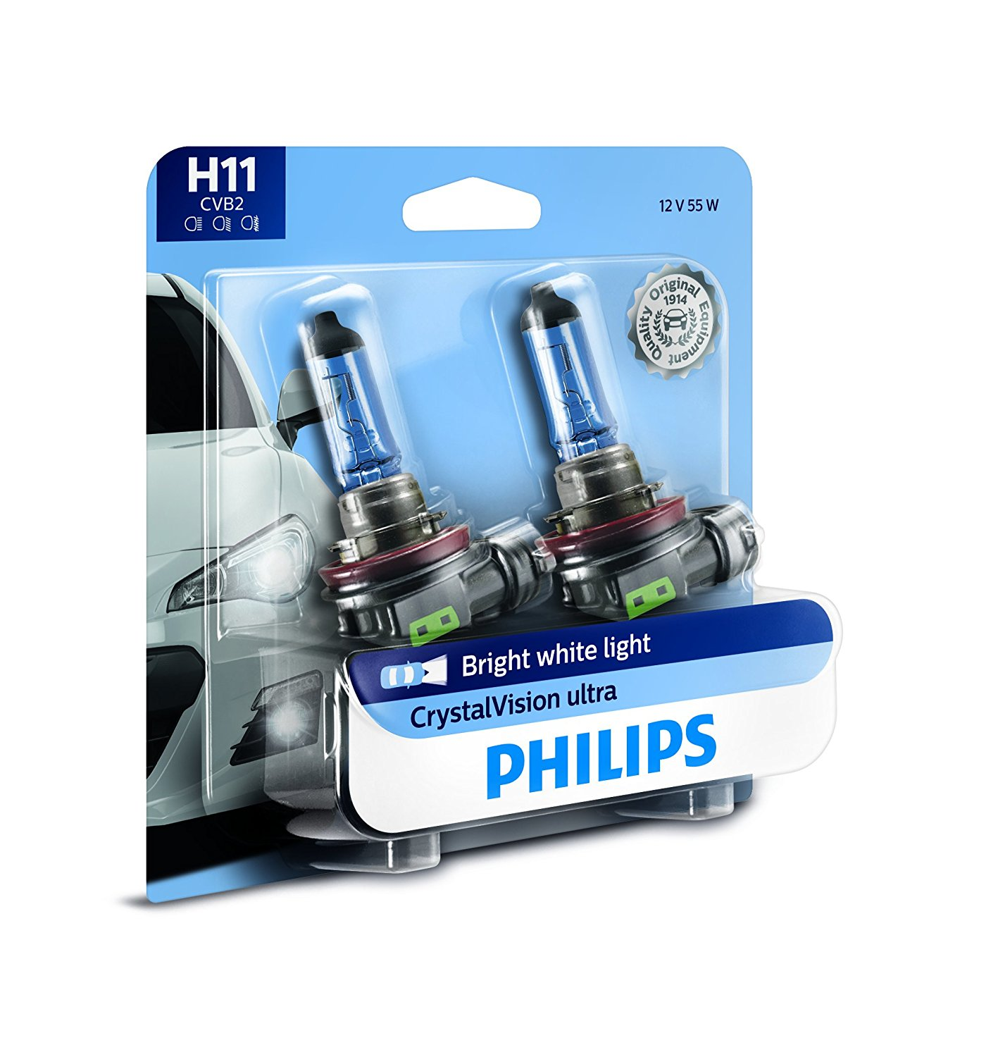 Philips H11 CrystalVision Ultra Upgrade Bright White Headlight Bulb